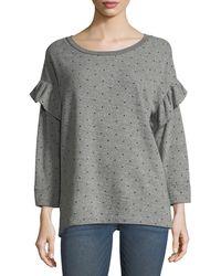Current/Elliott - The Ruffle Star-print Heathered Sweatshirt - Lyst
