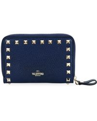 Valentino - Rockstud Medium Vitello Stamp Wallet - Lyst