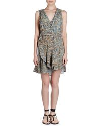 Isabel Marant - Fara V-neck Sleeveless Floral-burnout Side Wrap Dress - Lyst