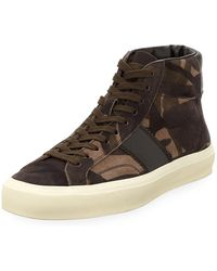 Tom Ford - Men's Cambridge Camouflage Suede High-top Sneakers - Lyst