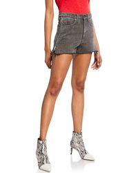 Rag & Bone Maya High-rise Denim Shorts W/ Side Zippers - Black