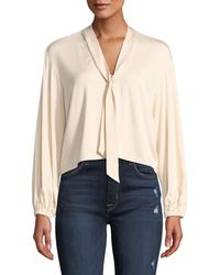 Rachel Pally - Amelie V-neck Sash Tie Long-sleeve Cropped Jersey Top - Lyst