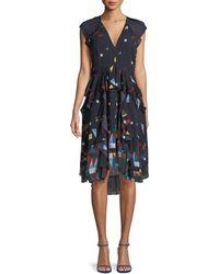 Joie Kiersten Printed Silk Ruffle Dress - Blue