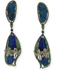 Wendy Yue 18k White Gold Opal & Flower Drop Earrings - Blue