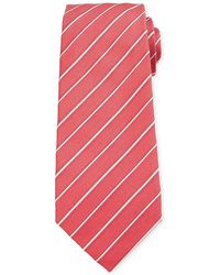 Isaia - Two-tone Stripe Silk Tie - Lyst