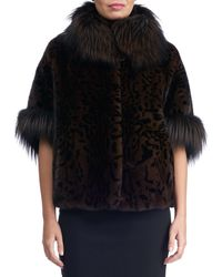 Gorski - Mink Jacket With Fox Fur Stand Collar And Cuff - Lyst