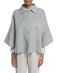 Emporio Armani | Cristallo Button-front Wool-cashmere Swing Caban Coat | Lyst
