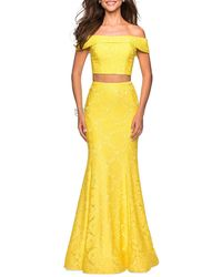 La Femme Two-piece Stretch Lace Dress Set With Crop Top & Mermaid Skirt - Yellow