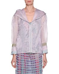 Emporio Armani - Silk Organza Zip-front Hooded Anorak Jacket - Lyst