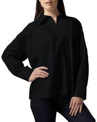 Go> By Go Silk Oversize Long-sleeve Boxy Shirt - Black