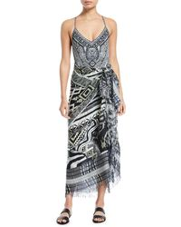 Camilla - Printed Square Scarf Skirt With Raw Edges - Lyst
