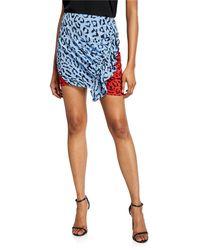 A.L.C. Geller Printed Two-tone Ruffle Skirt - Blue