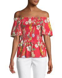Parker - Penn Off-the-shoulder Floral-print Blouse - Lyst