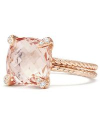 David Yurman Châtelaine Ring With Morganite And Diamonds In 18k Rose Gold - Pink