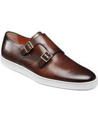 Santoni Men's Freemont Double-monk Leather Sneakers - Brown