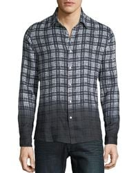 Michael Kors - Men's Dip-dyed Madras Plaid Linen Button-down Shirt - Lyst