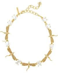 Oscar de la Renta Pearly Crystal Pave Dragonfly Necklace - Metallic