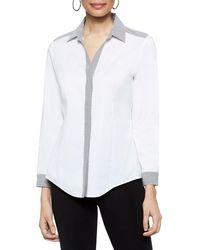 Misook - Contrast Pinstripe Shirt - Lyst