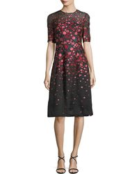 Lela Rose - Holly Floral Fil Coupe Dress - Lyst