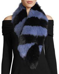 Charlotte Simone Popsicle Fur Scarf Blue/black