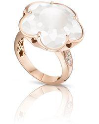 Pasquale Bruni - Bon Ton White Quartz & Diamond Ring In 18k Rose Gold, Size 6.5 - Lyst