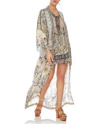 Camilla - Embellished Silk Long Kimono Coat Coverup - Lyst