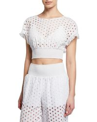Kisuii Zoie Eyelet-embroidered Coverup Crop Top - White