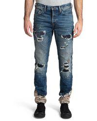 PRPS Men's Le Sabre Rip/repair Bleach-bottom Jeans - Blue