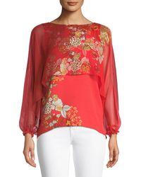 Elie Tahari - Malika Floral-print Silk Blouse - Lyst