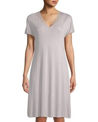 Hanro - Rose Short-sleeve Lace-trim Nightgown - Lyst