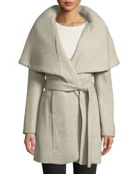 T Tahari | Marla Wool-blend Tweed Wrap Coat | Lyst