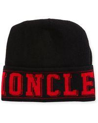 02316613a55 Moncler - Logo Knit Beanie Hat - Lyst