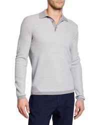 Ermenegildo Zegna - Men's Wool Long-sleeve Polo Shirt - Lyst