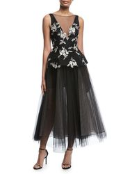 Monique Lhuillier - Sleeveless V-neck Embroidered Peplum Gown With Tulle Skirt - Lyst