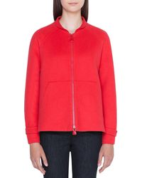 Akris Valerie Ribbed Cashmere Zip-front Hoodie - Red