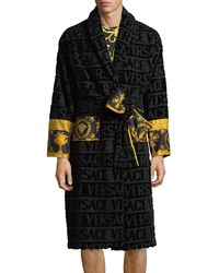 Versace Men's Barocco Sleeve Robe - Black