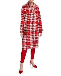 ESCADA Myrna Jumbo Houndstooth Coat - Red