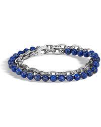 John Hardy - Sterling Silver Classic Chain Lapis Lazuli Double Wrap Bracelet - Lyst