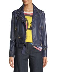 Boutique Moschino - Studded Leather Motorcycle Jacket - Lyst