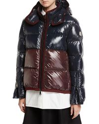 Moncler - Continus Colorblocked Shiny Quilted Down Coat - Lyst