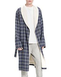UGG Men's Kalib Fleece-lined Plaid Robe - Blue