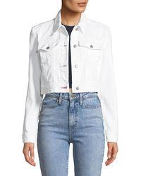 J Brand | Faye Button-down Cropped Denim Jacket | Lyst