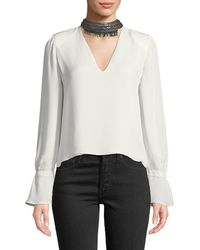 Ramy Brook - Annete Embellished Silk Blouse - Lyst