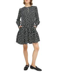 Kate Spade Cloud Dot Long-sleeve Dress - Black