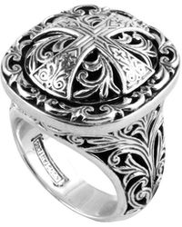 Konstantino - Sterling Silver Etched Cross Ring - Lyst