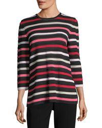 St. John | Ombre Color Stripe Knit Jewel-neck 3/4-sleeve Sweater | Lyst
