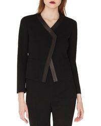 Akris - Saphir Short Cardigan-style Jacket With Leather Trim - Lyst