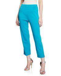 Misook Mid-rise Straight-leg Cropped Pull-on Pants - Blue