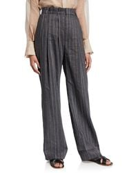 Brunello Cucinelli Striped Linen-wool Pleated Pants - Gray