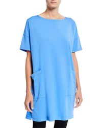 Eileen Fisher Plus Size Bateau-neck Elbow-sleeve Cotton Jersey Tunic - Blue